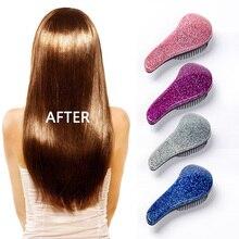 Magia anti estática escova de cabelo lidar com emaranhado detangling pente chuveiro eletroplate massagem pente salão de beleza ferramenta de estilo de cabelo
