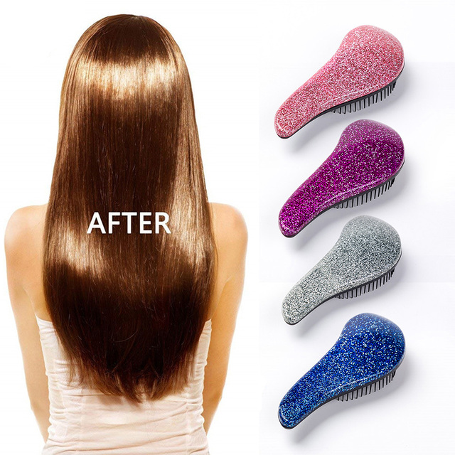 Magic Anti static Hair Brush Handle Tangle Detangling Comb Shower Electroplate Massage Comb Salon Beauty Hair Styling Tool