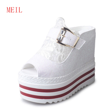 Summer New 14CM High Heel Slipper Female Thick-soled Water platform Slope With shoes Sexy Fish mouth Cool Wedge Slippers Crystal цена