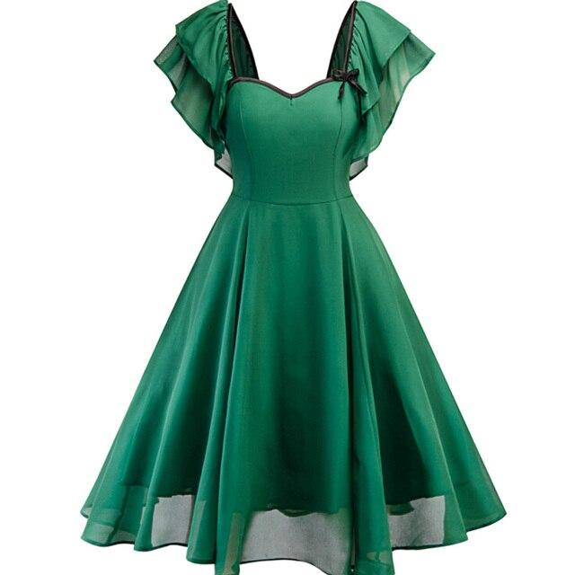 Plus Size Vintage Dress Short Sleeve Chiffon Women Green Retro Rockabilly Pin Up 50s 60s Audrey Hepburn Large Swing Ruffle Dress