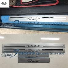 Dla 2014-2017 FIAT 500L 351 352 cztery drzwi 4 sztuk partia ze stali nierdzewnej płyta chroniąca przed zarysowaniem drzwi osłona progu dekoracyjne pokrywa tanie tanio NoEnName_Null Chrom stylizacja STAINLESS STEEL 0 36kg