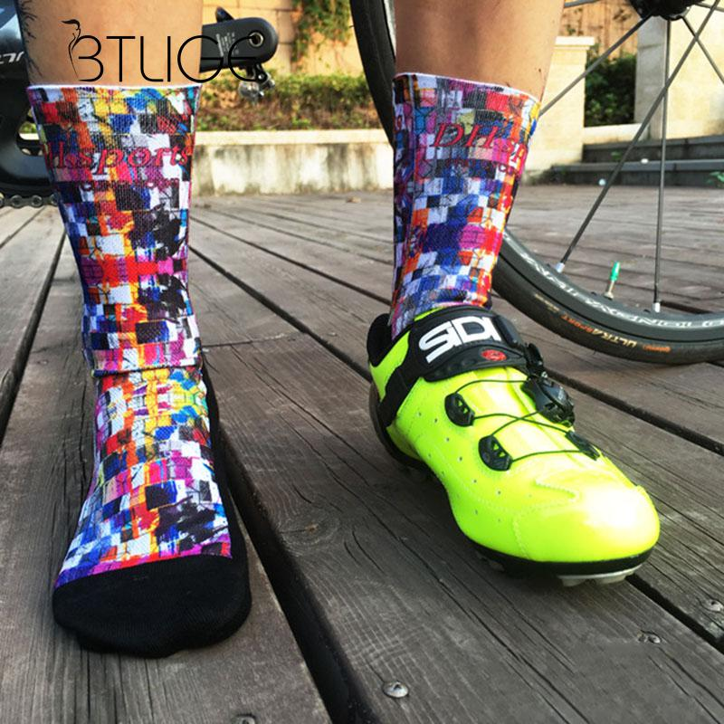 BTLIGE Printed Socks Men Patchwork Brand Sport Socks Autumn Winter New Professional Cycling Socks Women Running Bike Socks 12v 2 pin adjustable frequency led flasher relay turn signal blinker indicator for motorcycle motorbike accessories