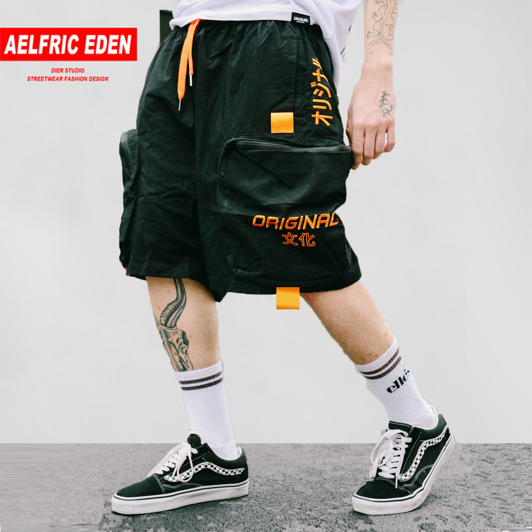 Aelfric Eden Patchwork Multi Pockets Patch Cargo Shorts Mens Summer Fashion Harajuku Casual Hip Hop Cotton Male Loose Streetwear