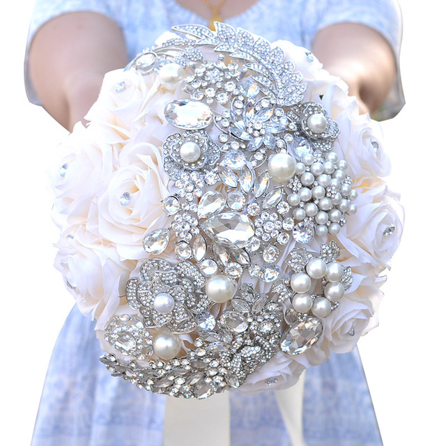 Factory Direct Hot Bridal Bouquet Jewelry Artificial Rose Ivory