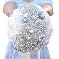 Factory Direct Hot Nupcial Jóias Buquê Rosa Artificial buquê de Flores Do Casamento Do Marfim com Strass e Pérolas Frisado de perles