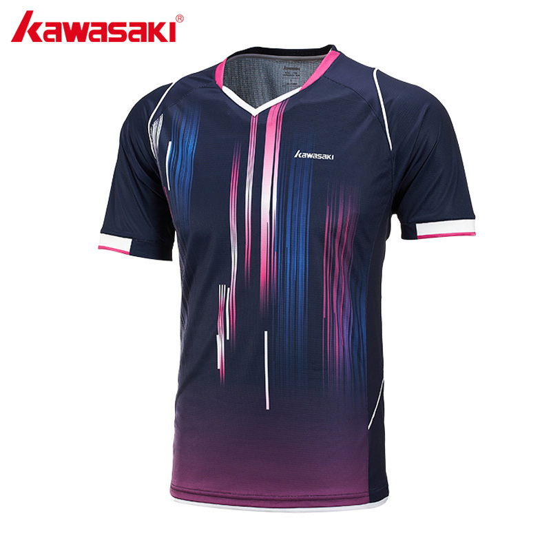 2017 KAWASAKI ST-171002 Short Sleeve Running T Shirt V Neck Quick Dry Breathable Men Sports T-Shirt for Fitness Gym