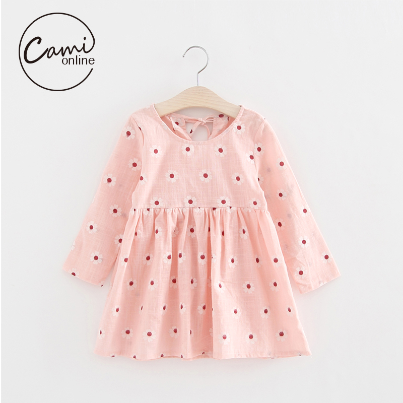 Casual Floral Print Girls Dress Cute Toddler A Line Princess Dresses Cotton Long Sleeve Kids Vestidos Baby Girl Clothes pretty girls dress lovely floral print long sleeve flower kids dress baby girl clothes princess dresses 4 14y