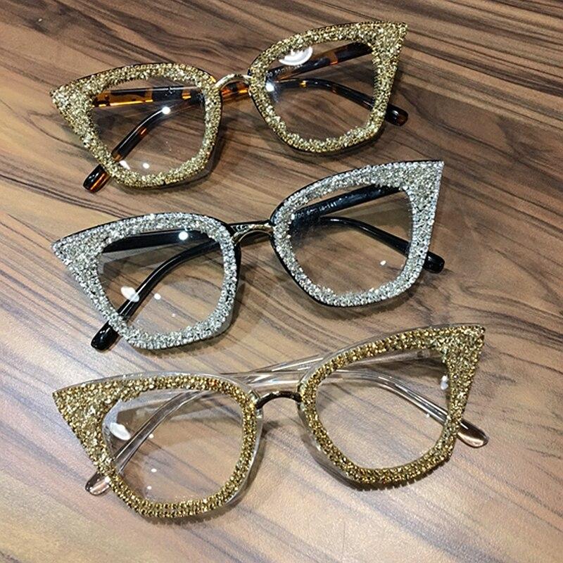 2019 Vintage cat eye Glasses frame retro Female Brand Designer gafas De Sol silver gold Plain