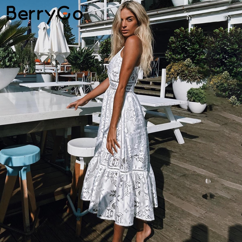 1c644dd2a8 BerryGo v neck sexy lace summer dress women Strap button casual white dress  female Streetwear backless midi dress vestidos 2019-in Dresses from Women's  ...