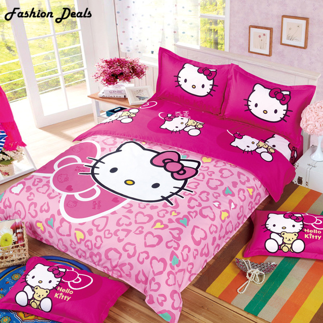 015f533f6 Home Textile Hello Kitty Bedding Set Cartoon Cotton Bed Set for Kids 4pcs  Include Duvet Cover Bed Sheet Pillowcase Free Shipping