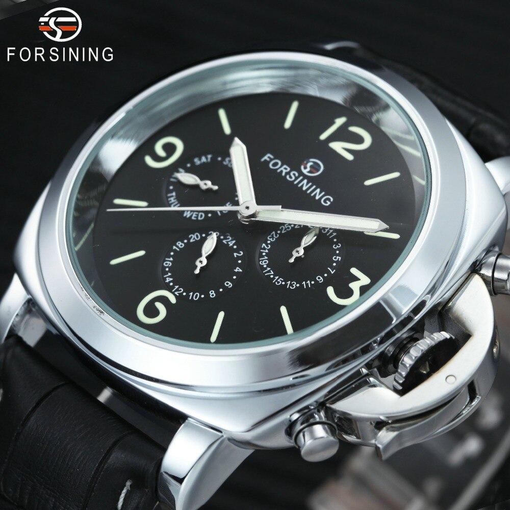 FORSINING 2018 автоматические часы Механические Мужские лучший бренд люкс 3 суб-набор 6 руки Мода Повседневное кожаный ремешок наручные часы