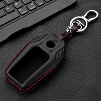 LUNASBORE Genuine Leather Car Key Case Cover Key Shell For Remote Key Protective Key Bag For
