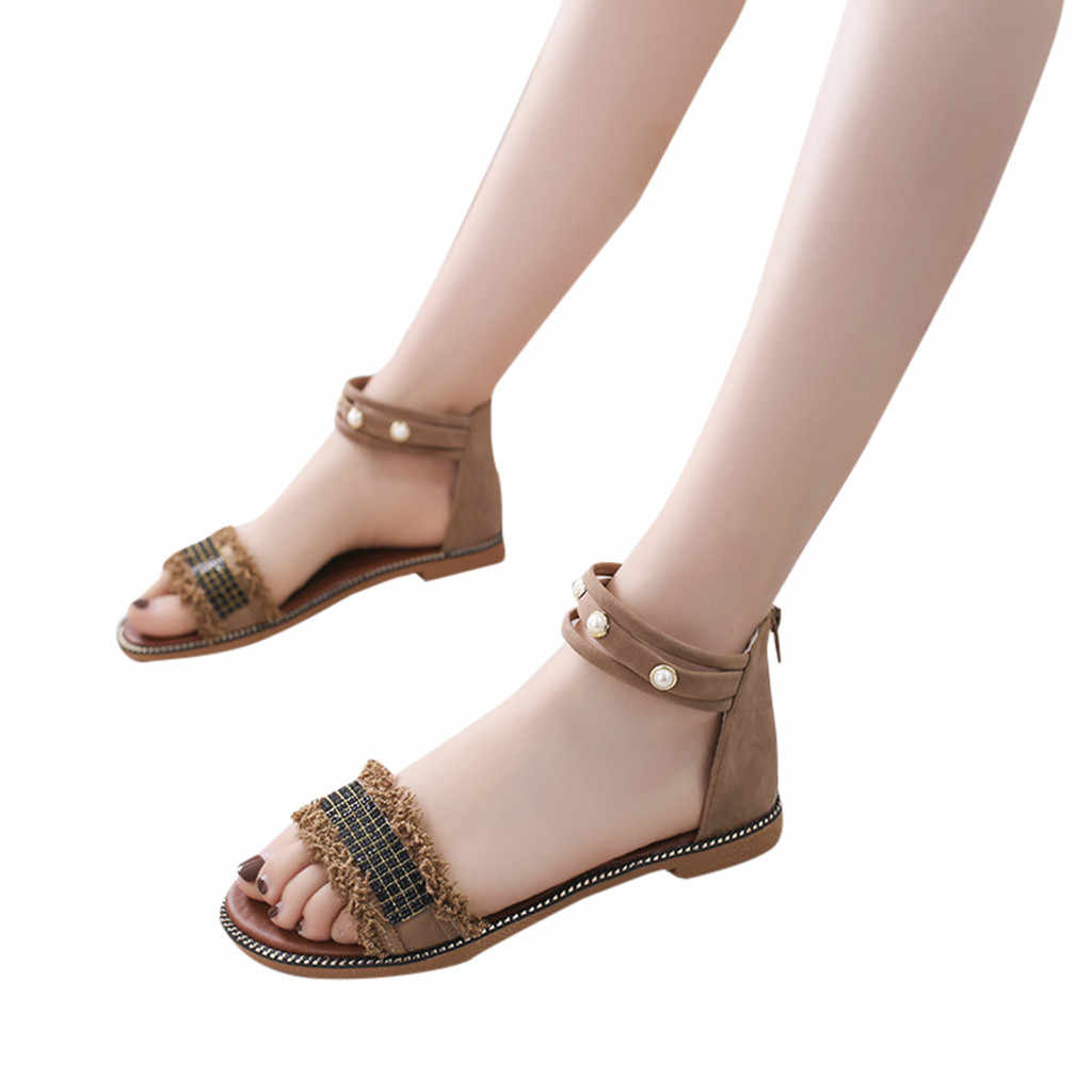 SAGACE ผู้หญิงรองเท้าแตะโรมันฤดูร้อนลูกปัดรองเท้าผู้หญิง Plat รองเท้าส้นสูง Vintage Retro โรมันเรื่องอื้อฉาวผู้หญิงฤดูร้อนชายหาด