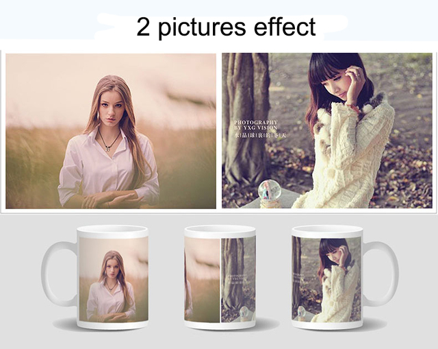 Drop shipping DIY Photo Magic Color Changing Mug,custom your photo on Tea cup,unique Ceramic Coffee Cup best gift for friends 2