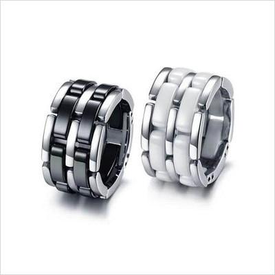 Double Bands Titanium Steel +Ceramic Lovers Classic Jewelry /men women White /Black rings Min order $20(mix)