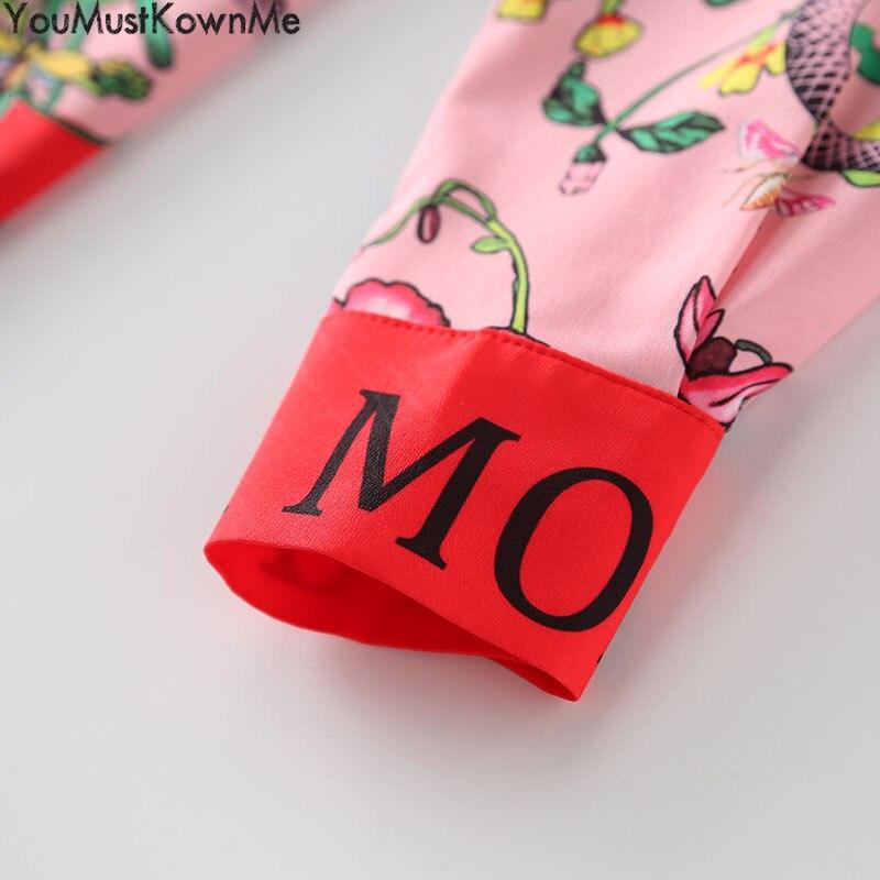 2019 femmes blouses à manches longues chemise serpent imprimer lettre fleur imprimé grande taille femmes blouses femmes mode piste rose chemises - 5