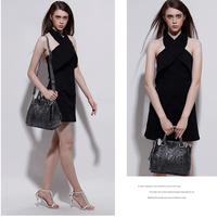 Korea Style Fashion Genuine Leather Woman Handbag Lady Rivet Black Soft Sheepskin Top Handle Bag Messenger