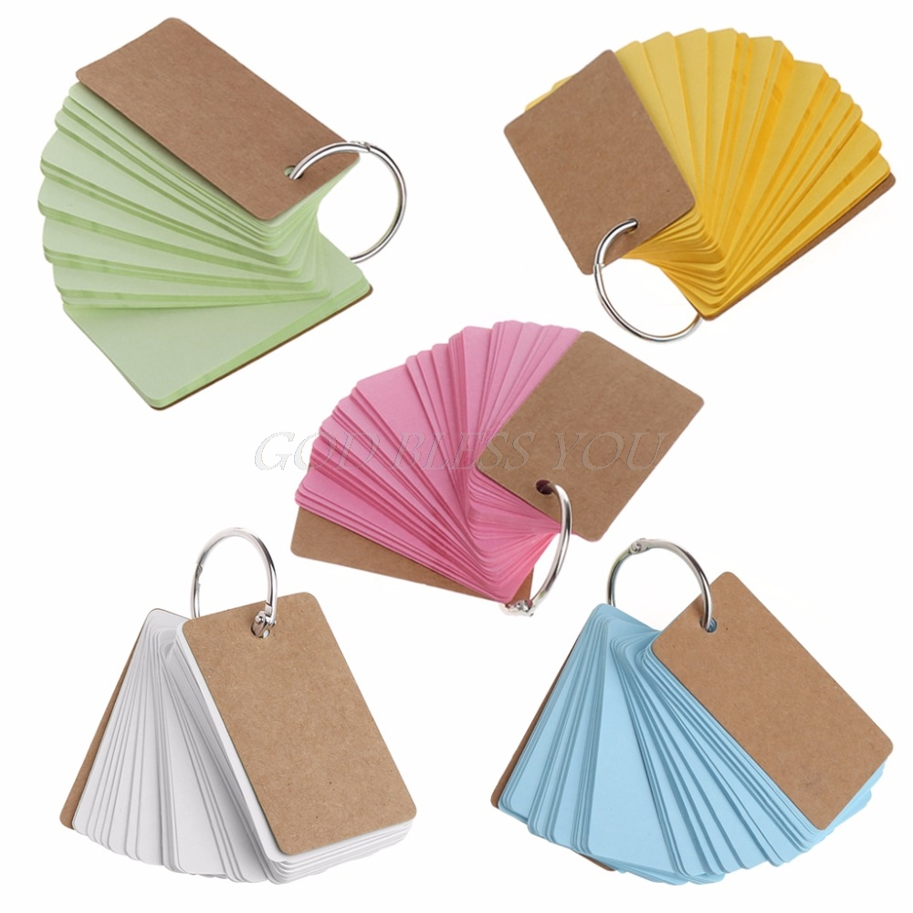 High Quality Kraft Paper Binder Ring Easy Flip Flash Cards Study Memo Pads Diy Stationery Exquisite Craftsmanship;