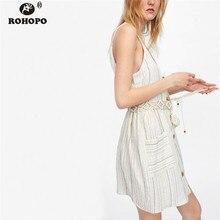 цены на ROHOPO Women Cotton Linen Strap Dress Belted Vintage Side Pockets Flare Striped Midi Dress Single Breast Fly Vestido #UK9310  в интернет-магазинах