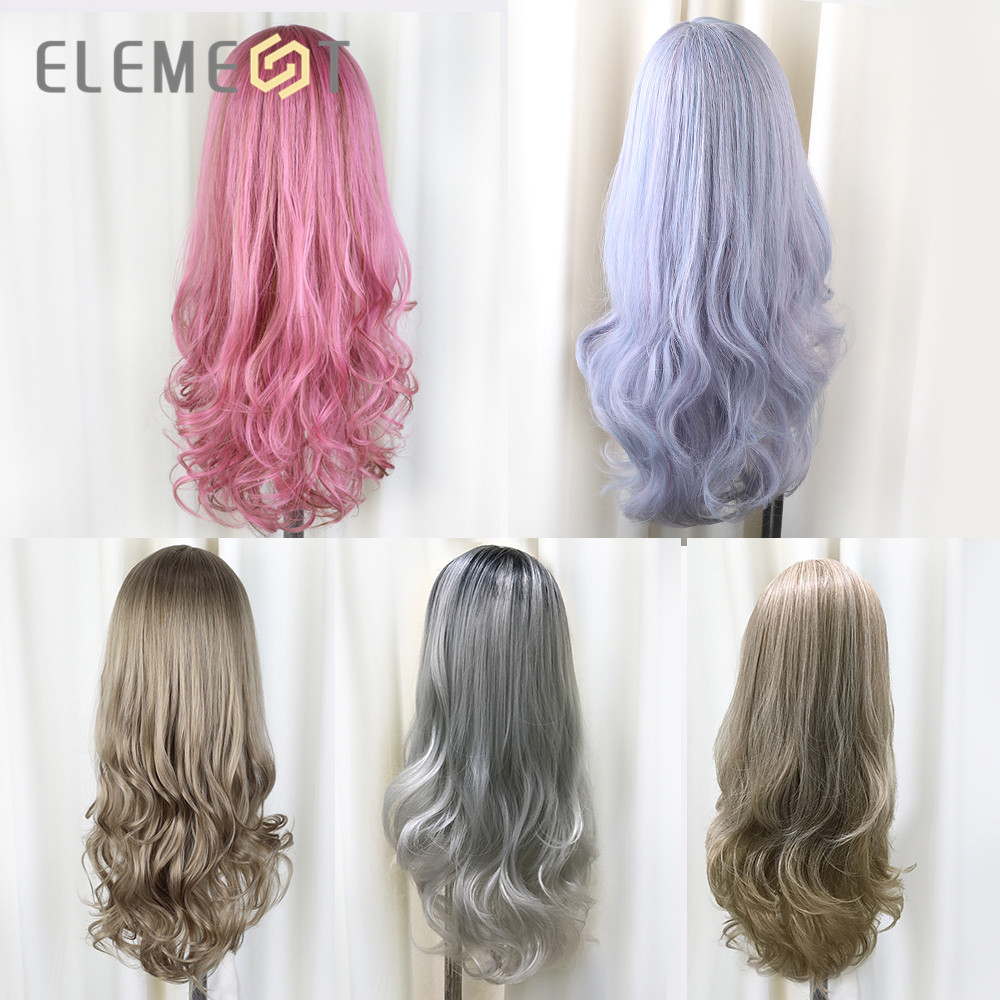 Element 26 Inch Long Synthetic Wig Fashion DIY Natural Wave Wigs for Women Middle Part Heat Resistant Cosplay Wig 5 Colors