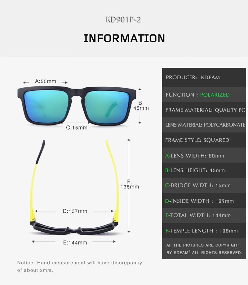 Kdeam gafas de sol deporte cuadrado polarizado Gafas Sol negro y amarillo  marco HD lente UV400 con estuche rígido. banner. 800-3. M2. SIZE ... 9f9e97d98046