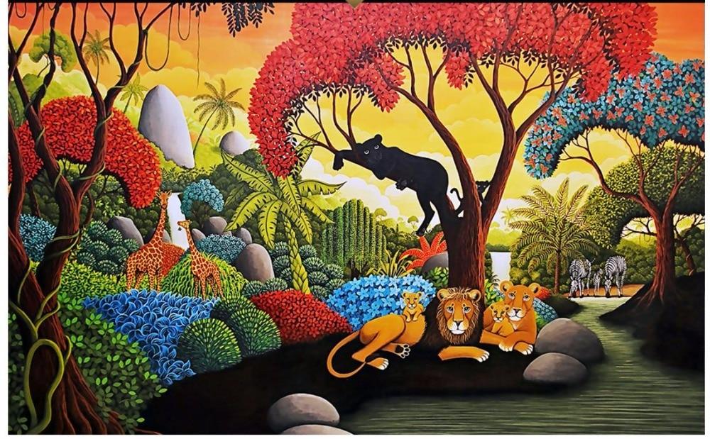 Custom photo wallpaper 3d wall murals wallpaper Tropical rainforest oil painting backdrop wall