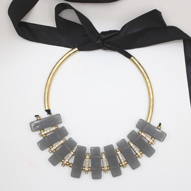Resina de la calidad chapado en oro de cobre negro de la cinta collar geométrico 2016 ZHONGLV collares largos para las mujeres declaración de la joyería del cuerpo