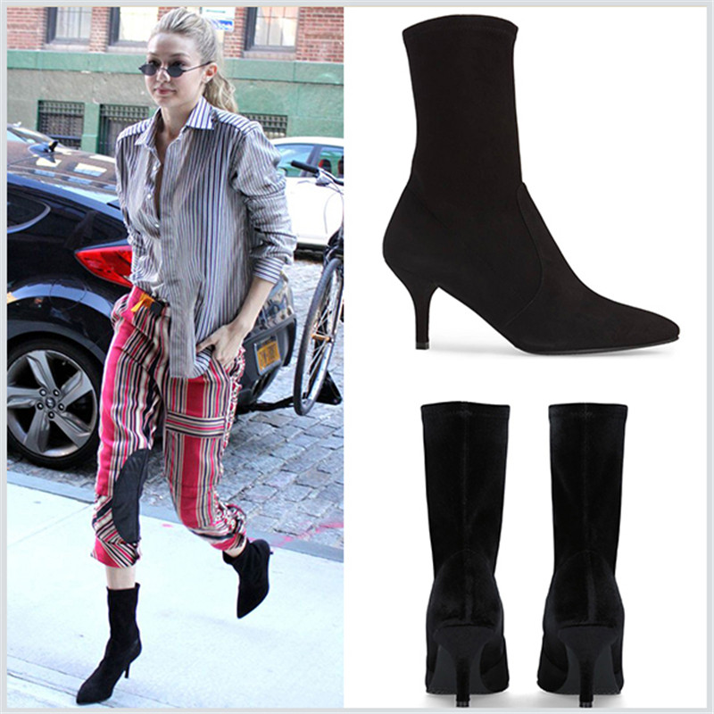 2017 Autumn Winter Ankle Boots for Women New Elastic Short Motorcycle Boots Pointed Toe Sexy Stiletto Wedding Party Shoes Botas in the new winter boots sexy 2016 meters white hollow pointed red bottom short boots sm70887bt k1