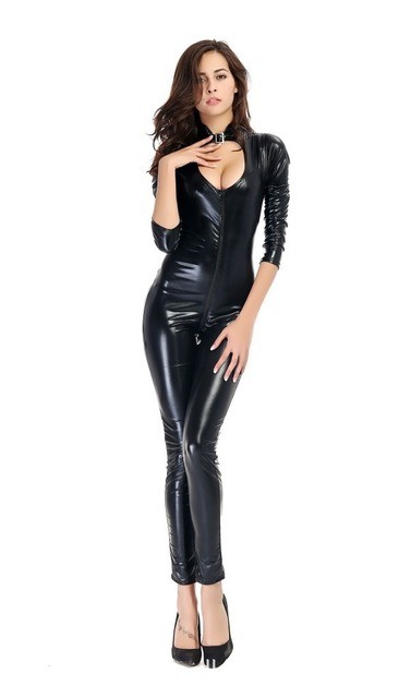 Ensen Sexy Latex Faxu Leather Zipper Cosplay Costumes For Women Expose Breast Sexy Lingerie Exotic Back Suit Fantasia Jumpsuit