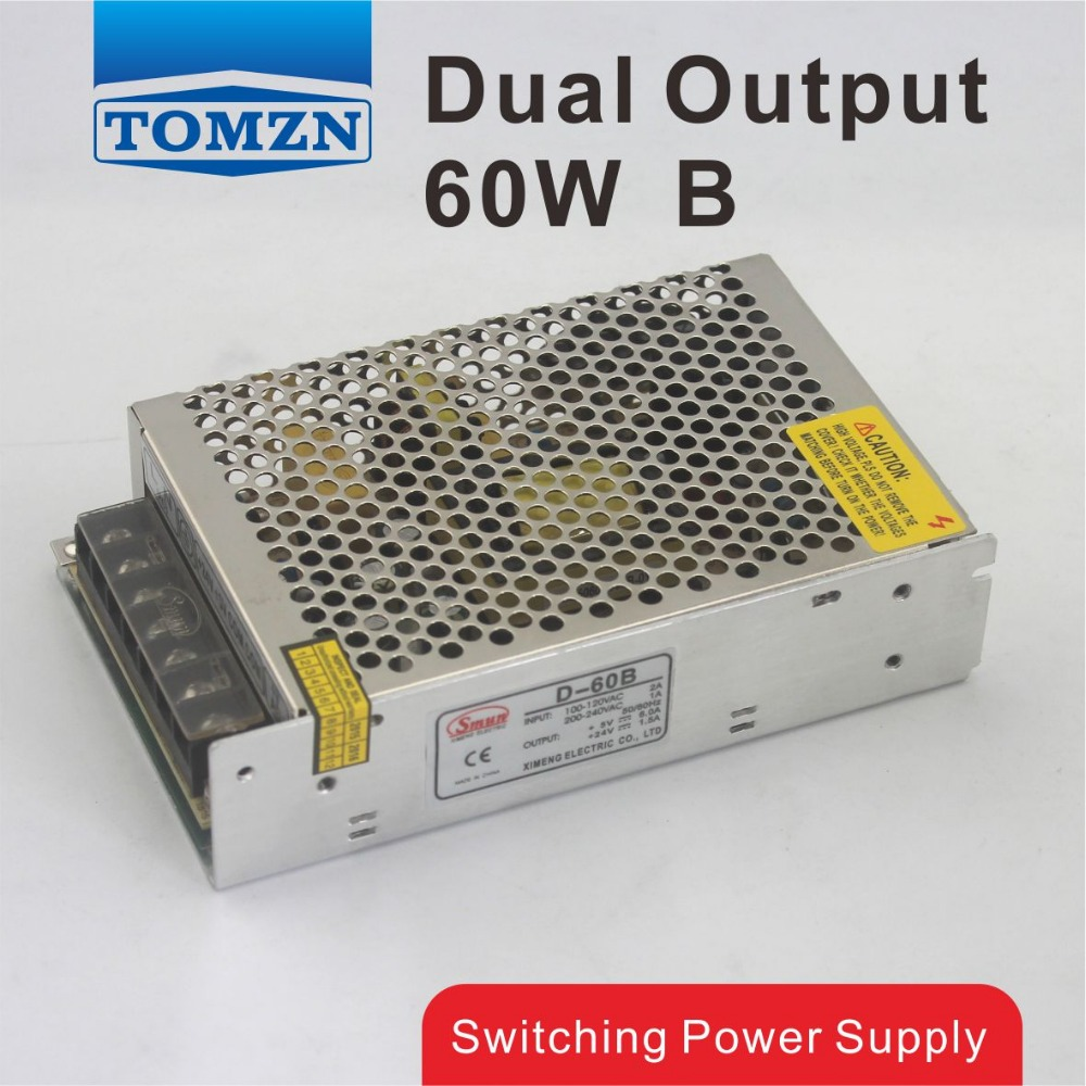 D <font><b>60W</b></font> B Dual output <font><b>5V</b></font> 24V Switching power supply AC to DC DC3A DC1.8A image