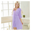 Sexy Lady Women Seven Sleeve Ice Silk Long Sling Sleepwear Lingerie Nightdress Pyjamas Set