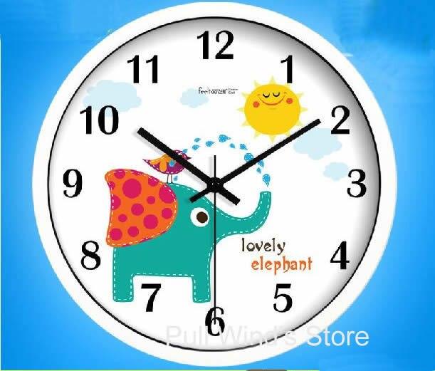 Horloge murale motif éléphant mignon horloge murale dessin animé chambre d'enfants