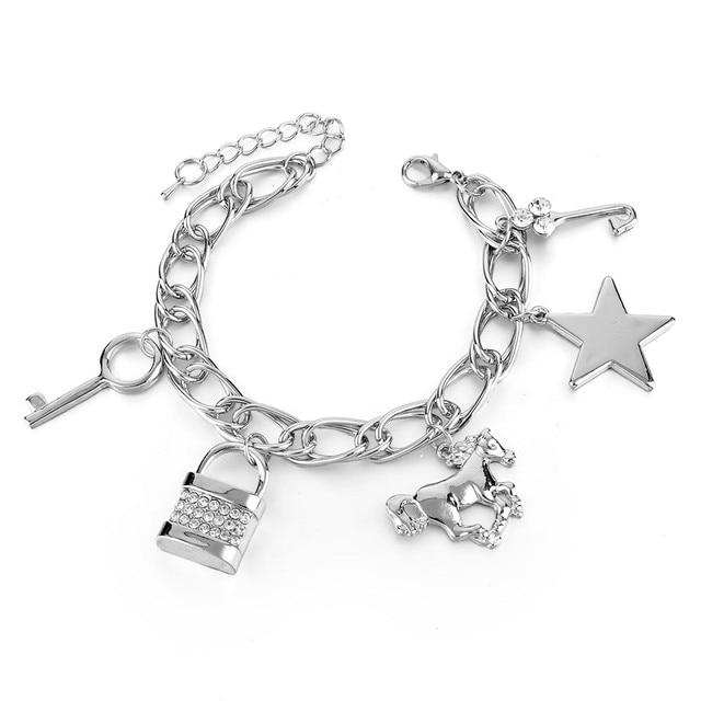 Chicvie Золотая звезда брелок цепочка лошадь браслеты и для