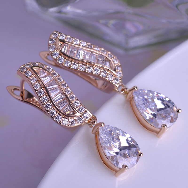 Blucome Luxuries Copper Dangle Earrings For Women Gold color Micro Pave Big Zircon Ear Drops Exquisite