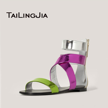 2017 New Fashion Women Casual Summer Open Toe Zipper Ankle Wrap Flat Sandals Customize Large Size Comfortable Shoes