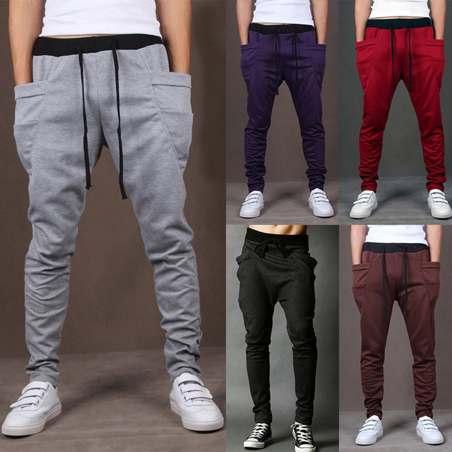 ZOGAA Men Pants Full Length Sportswear Casual Elastic Cotton Pants Mens Fitness Workout Skinny Sweat Pants Trousers Joggers Men