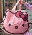 Mulheres embreagem sacola olá kitty head estilo clássico bolsa grande capacidade de saco de lona bolsa de ombro ocasional bolsas bonitos dos desenhos animados