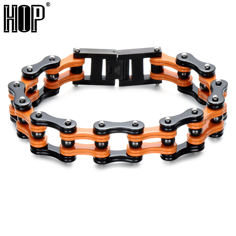 HIP 19MM Wide Double Bicycle Chain Bracelet for Men Motorcycle Link Chain Bracelets Bangles 316L Stainless Steel Jewelry 23cm 18mm heavy wide stainless steel bracelet men biker bicycle motorcycle chain men s bracelets mens bracelets
