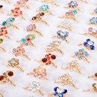 imixlot 5 PCS/Lot Crystal Flowers Children Ring Set For Kids Mixed Color Send Randomly Beautiful Jewelry