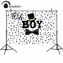 Allenjoy background for photo white Hat bow boy baby shower birthday backdrops photography photocall photobooth photophone цена