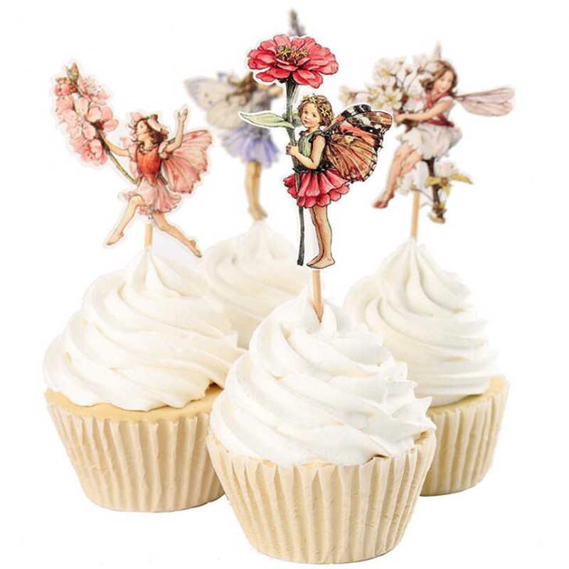24 pçs/lote Flor Fada Da Menina Do Partido Do Queque Topper Festa Feliz Aniversário Baby Shower Crianças Decoração Do Partido Dos Miúdos Decoração Do Bolo Suprimentos