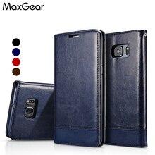MaxGear Coque For Samsung S6 Edge Case Leather Flip Case Cover For Coque Samsung Galaxy S6 S7 Edge S8 S9 Plus Funda Carcas