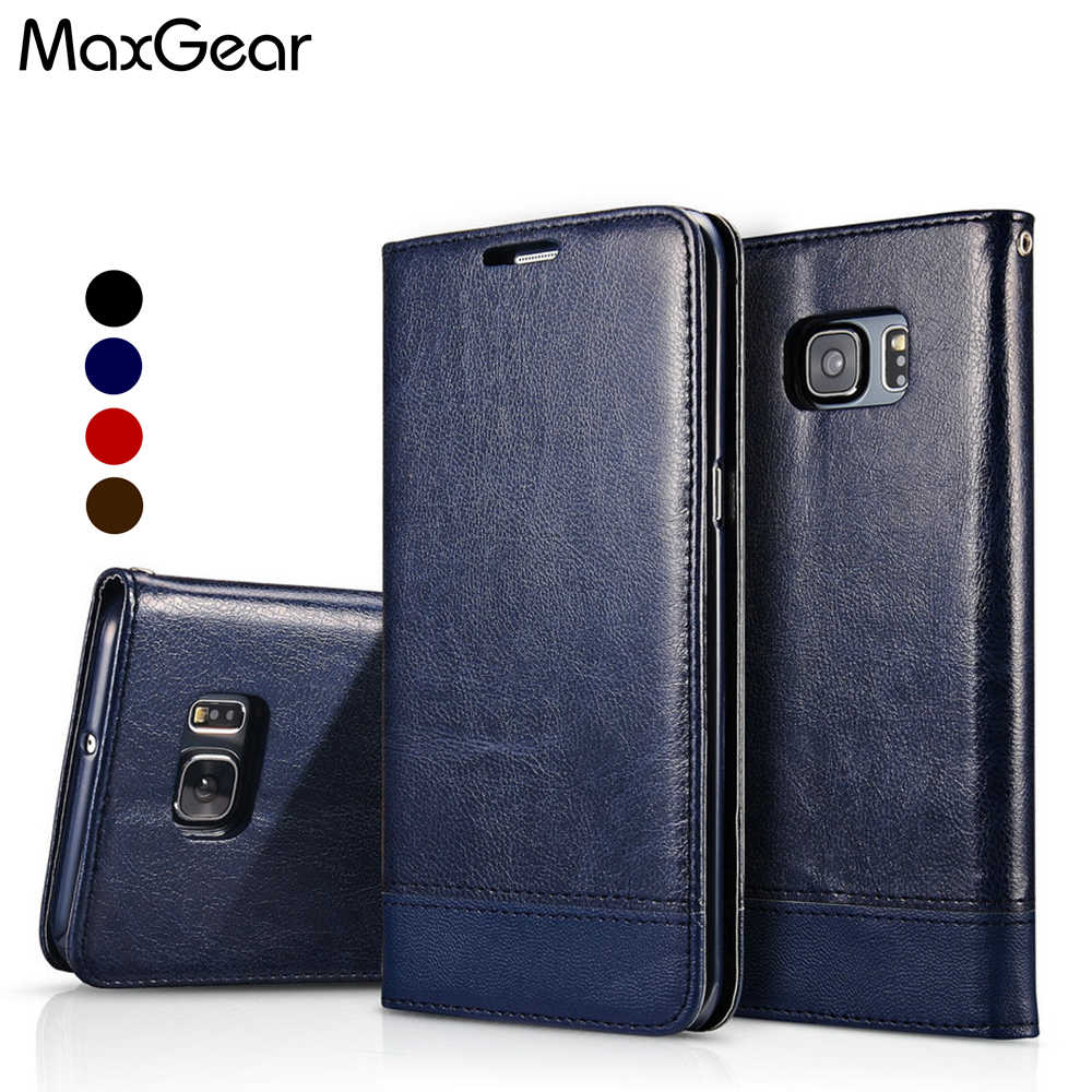 MaxGear Coque For Samsung S6 Edge Case Leather Flip Case Cover For ...