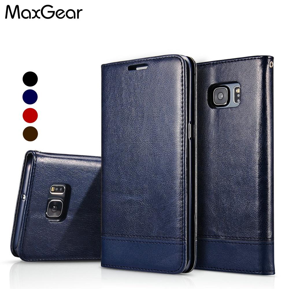 MaxGear Coque Pour Samsung S6 Bord Cas En Cuir Flip Cas de Couverture pour Coque Samsung Galaxy S6 S7 Bord S8 S9 Plus Funda carcasse