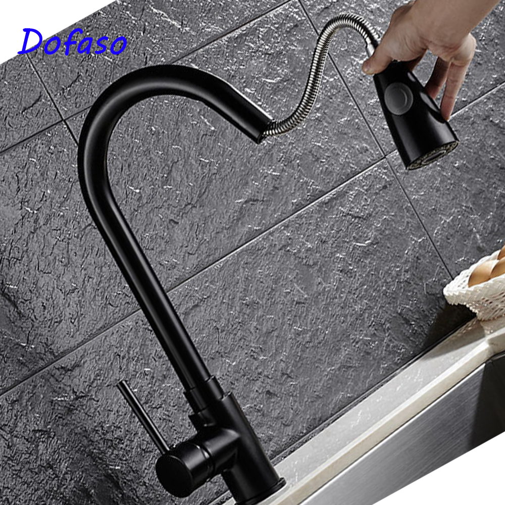 Dofaso cookroom sink faucets pull down 360 Degrees Rotatable Modern Pull Out Kitchen Faucet Black Solid Brass ydl f 0581 wall type 360 degrees rotatable chrome plated brass kitchen sink faucet silver