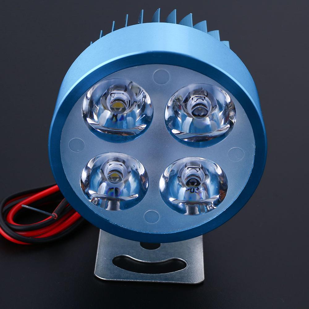 VEHEMO, светодиодный головной светильник для мотоцикла, электровелосипеда, фара для вождения, точечный светильник, водонепроницаемая лампа, 10 Вт, 4 цвета, для мотоцикла, DIY, головной светильник - Цвет: Blue