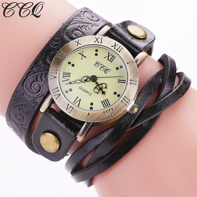 CCQ Punk Style Fashion Vintage Cow Flower Print Leather Bracelet Watch Casual Wo