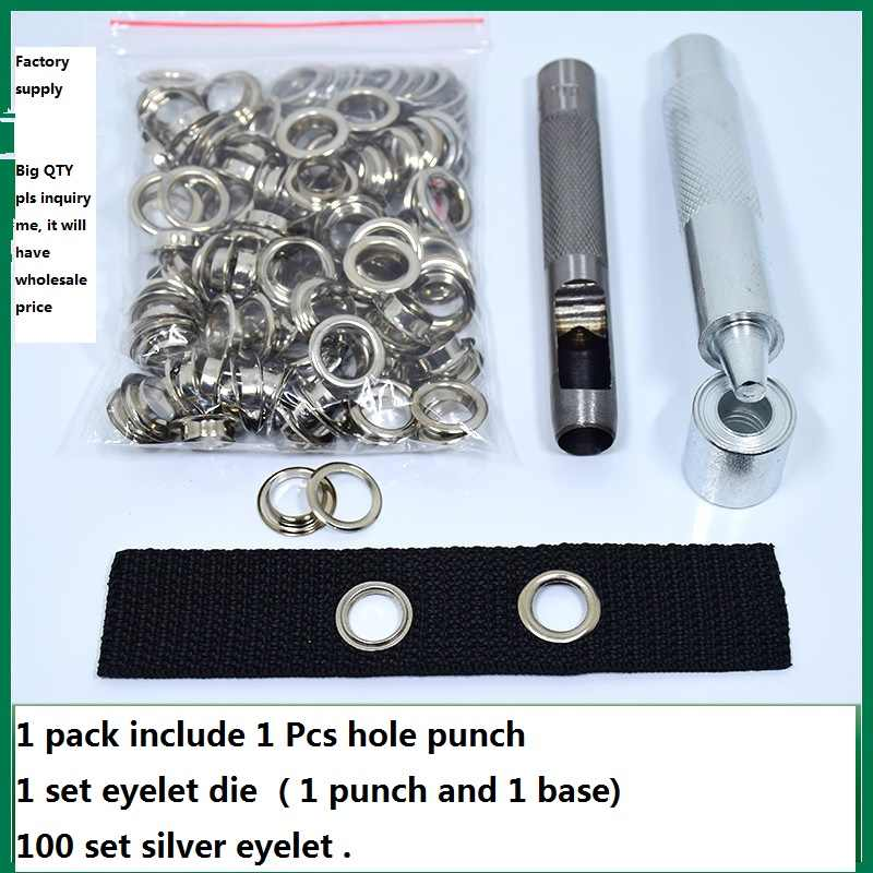 Factory Supply 100sets Silver Steel Eyelet with 1pcs hole punch and 1 set eyelet punch tool High Quality Stainless Steel Grommet