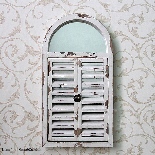 Wall Mounted Shabby Chic White Arched Wood Shutter Window Mirror In Decorative Mirrors From Home Garden On Aliexpress Alibaba Group
