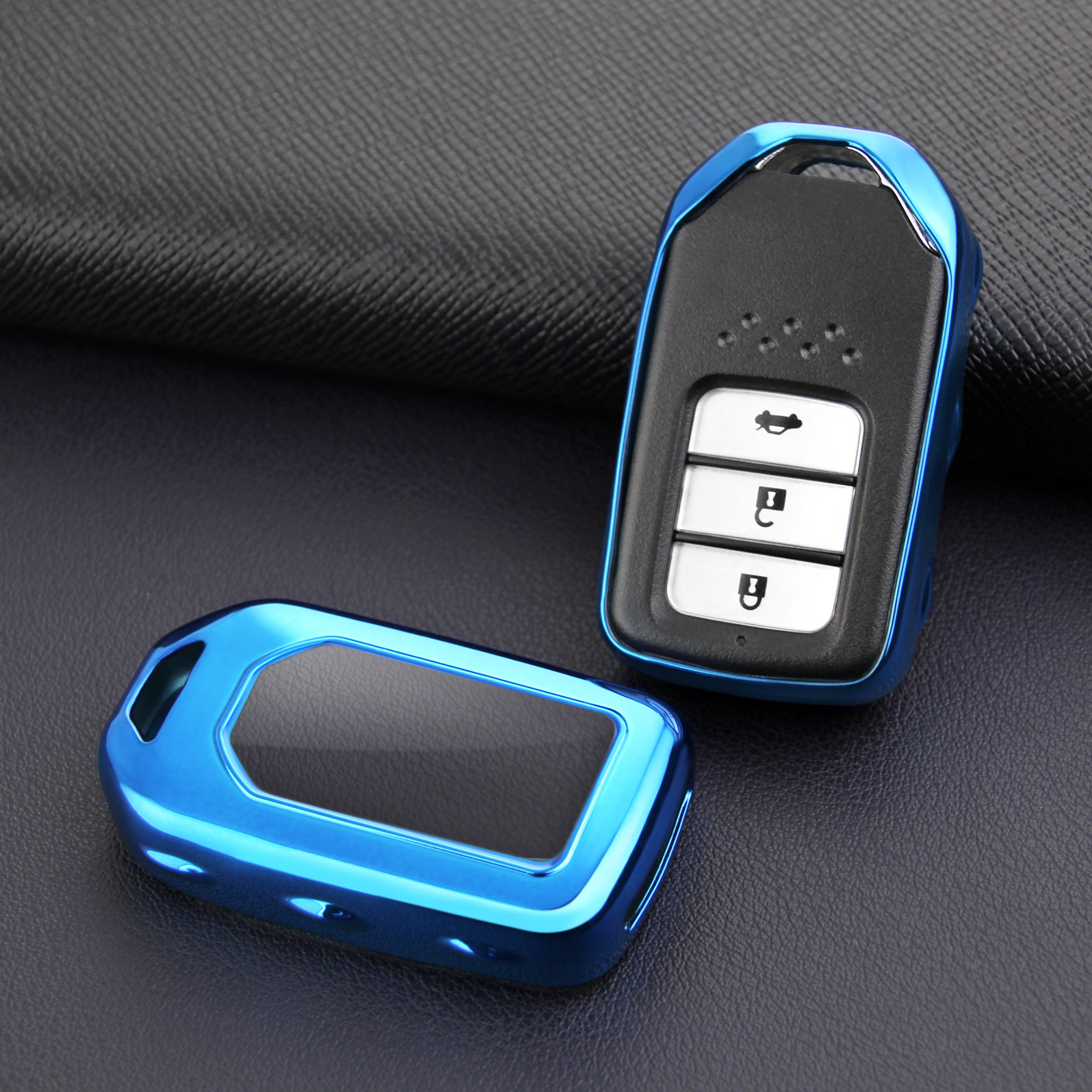 Glossy Blue For Honda Accord Civic CR V Fit HR V Odyssey Pilot Clarity Insight Smart Car Key Durable Protector Case Holder Cover|Key Case for Car| |  - title=